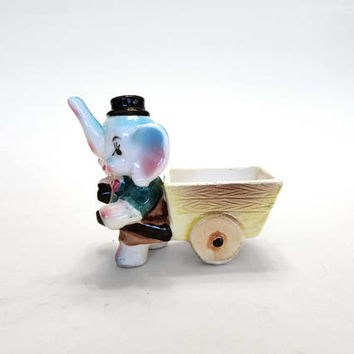 Vintage Japan Cartoon Elephant Wheelbarrow Wood Cart Mini Planter Vase Anthropomorphic Ceramic