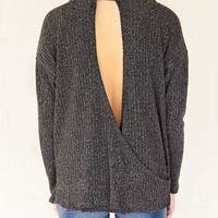 No Low Moments High Collar Sweater - Charcoal