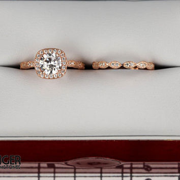 1.25 ctw Halo Wedding Set, Vintage Style Bridal Rings, Man Made Diamond Simulants, Art Deco Engagement Ring, Sterling Silver, ROSE Gold
