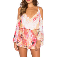Tiare Hawaii Kauai Mini Dress in Cream & Fuschia & Purple Vibe
