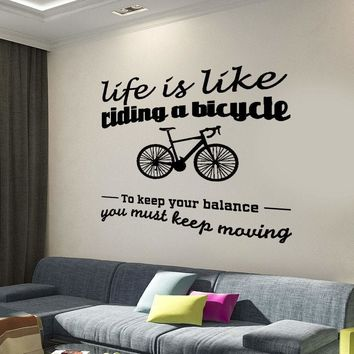 Wall Decal Quote Life is Like Riding a Bicycle Romantic Interior Decor Unique Gift z4004