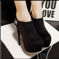 High Platform Fashion Stiletto Suede Ankle Boots Shoes