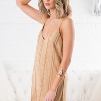 Alluring Faux Suede Dress (Tan)