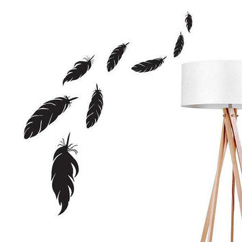 Feathers Wall Decal, Boho Sticker, Bird Feathers Wall Sticker, Bohemian Decal, Boho Desert, Nursery Decal, Hippie Wall Decal, Office Decor