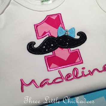 Birthday Shirt or One Piece  Little Lady Mustache Italian Theme with Swarovski Crystals  Photo Prop  Mustache Shirt  Girls Birthday Shirt