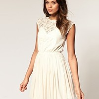 ASOS | ASOS Skater Dress with Lace and Mesh at ASOS