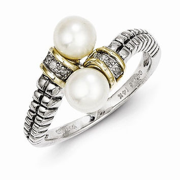 Sterling Silver Gold Pearl Diamond Ring