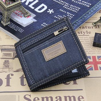 2017 New Vintage Denim Blue Jeans Canvas Wallets Women / Men Quality Man Best Gift for Boyfriend Short Zipper Coin Bag Purses