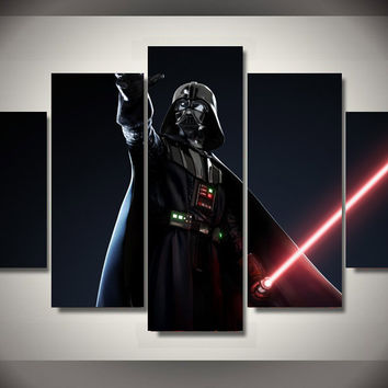 Framed Printed Star Wars Movie 5 piece picture painting wall art children's room decor poster canvas pictures for living rooms