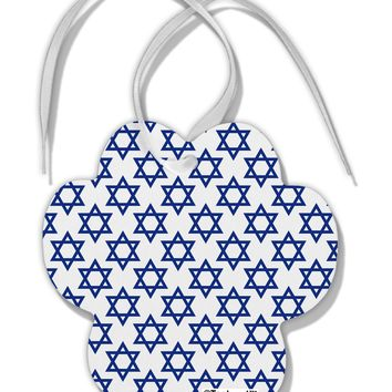 Stars of David Jewish Paw Print Shaped Ornament All Over Print by TooLoud