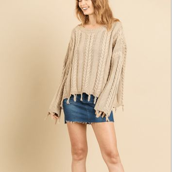 Women's Frayed Cable Knit Sweater
