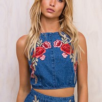 Bloom Denim Halter Top