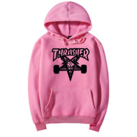 """Thrasher"" Fashion  skateboard leisure loose hooded sweater Pink (10 color)"