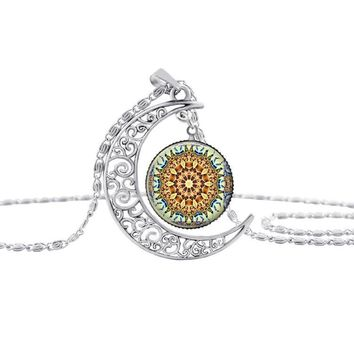 HOT! enamel mandala flower silver Moon necklace charm henna yoga pendant handmade necklace India jewelry om symbol buddhism S26 3