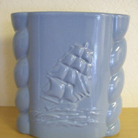 art deco blue Abingdon ship pottery vase by marcjoseph on Etsy
