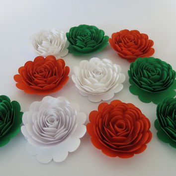 "10 Roses, Ireland Tricolor flag colors, Orange White Green, Irish American Wedding decorations, large 3"" paper flowers Pub table centerpiece"