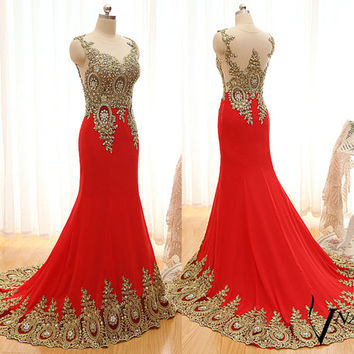 New Arrival Evening Dresses Unique Design Peacock See Through with Lace Appliques Long Chiffon Mermaid Crystal Gold Lace Red Prom Dress 2015