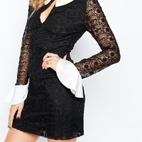 Millie Mackintosh Monochrome Mini Dress With Fluted Cuffs