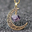 Gold Crescent Moon Necklace with Purple Stone