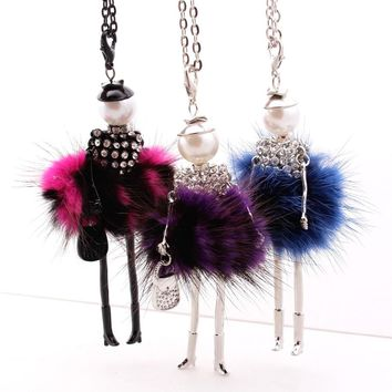 Fashion Lovely Fluffy Doll Necklace Long Chain Jewelry Women Princess Dress French Necklaces Pendants For girls Gifts 8 colors