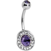 Purple Gem Mirror Cameo Belly Ring