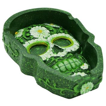 Skull Shaped Floral Ashtray Green Polystone