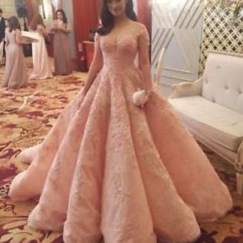 Sheer Neck Short Sleeves Blush Prom Dress Quinceanera Dress Size 0 2 4 6 8 10