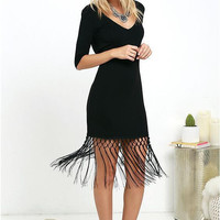 Black V-Neck Backless Fringed Dress