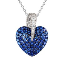 Ocean Blue Solitaire Puffed Sterling Silver Heart Pendant Set