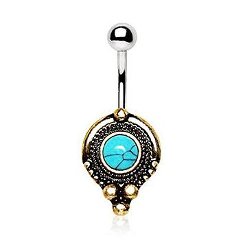 Gold Plated Medieval Style WildKlass Navel Ring with Turquoise Stone