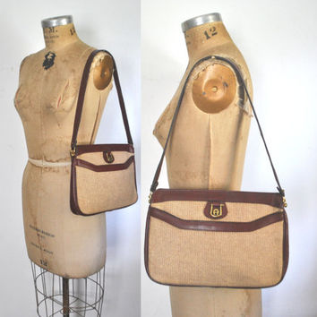 Etienne Aigner Purse / Straw and Leather Purse Tote
