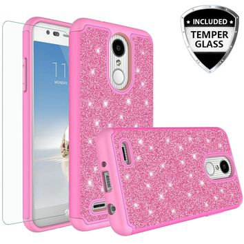 LG Aristo 2 Plus Case, Aristo 2, LG Tribute Dynasty, Rebel 3, Zone 4, Glitter Bling Heavy Duty Shock Proof Hybrid Case with [HD Screen Protector] Dual Layer Protective Phone Case Cover for LG Aristo 2 W/Temper Glass - Hot Pink