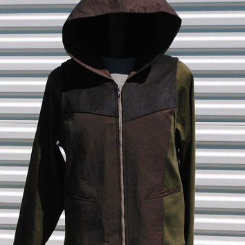 The Hood XL Mens Army Green Black Ultra Suede by OLearStudios