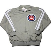 Chicago Cubs Track Jacket in Gray Mens Size Medium