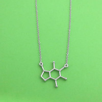 Caffeine, Molecule, Silver, Necklace, Birthday, Chemistry, Necklace, Lovers, Friends, Sister, Gift