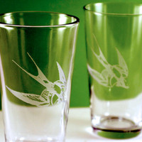 2 Swallow Bird Etched Pint Glasses by PhoenixFireStudios on Etsy