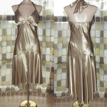 Vintage 90s Retro 20s Liquid Gold SILK Satin Flapper Dress S/M 6 Drop Waist Formal Halter Gown Gatsby