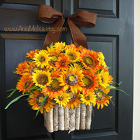 fall front door wreaths sunflowers wreaths home decor orange front door wreaths gift ideas outdoor wreaths