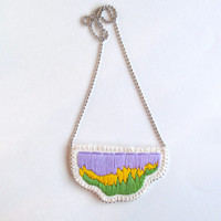 Embroidered abstract pendant necklace in ombre colors of lavender yellow and green on a silver ball chain perfect for Spring