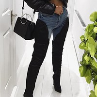 Stylish Black Thigh High Stiletto Boots