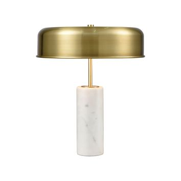 Top Brass 2-Light Table Lamp in White Marble with Antique Brass Shade