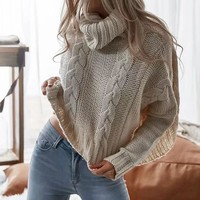 autumn knitwear sweater solid color turtleneck long sleeve knitting pullover sweater women