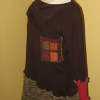 Altered Upcycled  Brown Fringed Neck Sweater with mix and match pocket, sleeves and bottom, size L/XL