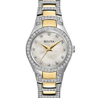 Bulova Ladies Two Tone and Crystal Bracelet Watch
