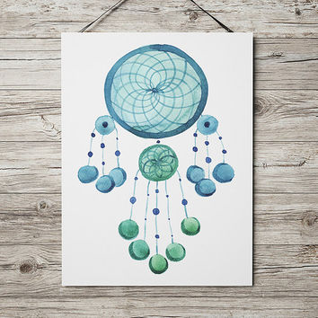 Watercolor art Boho poster Dreamcatcher print Tribal print ACW800