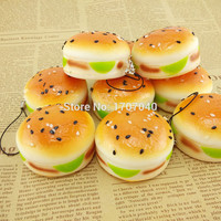 5CM Squishy Sesame Covered Hamburger Phone Charms Key Chain Soft Bread Scented Food Simulatons Bun Straps