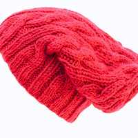 Slouchy Cable Beanie - Knit Winter Fashion - Autumn Red