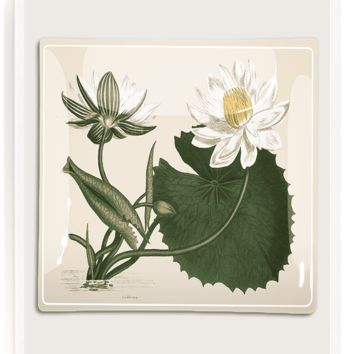 White Water Lily Decoupage Glass Tray