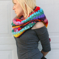 Crocheted rainbow hooded cowl, scarf neck warmer