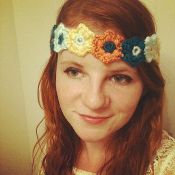 Crochet Boho Flower Headband